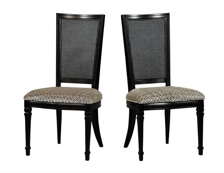 American Set of Six Louis XVI Style Cane Back Dining Chairs For Sale
