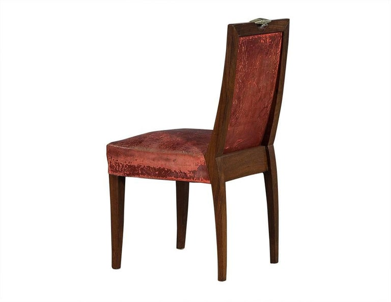 set of six antique deco solid rosewood dining chairs