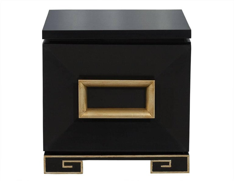 These exceptionally designed chests flaunt Oriental influence and flair. These stunning tables represent a bold example of James Mont's incredible artistry, each hand polished in a black lacquer with gold leaf accents that are hand applied on the
