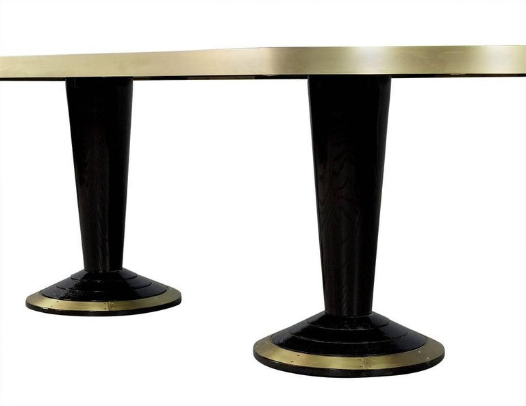custom oval modern titanium marble top dining table trimmed in brass for sale at 1stdibs. Black Bedroom Furniture Sets. Home Design Ideas