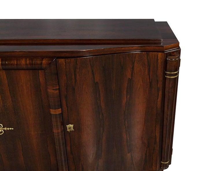Brass Vintage Art Deco Macassar Sideboard Buffet