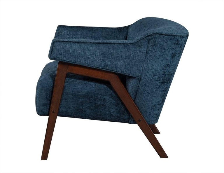 Midcentury Lounge Chairs in Teal Chenille For Sale at 1stdibs