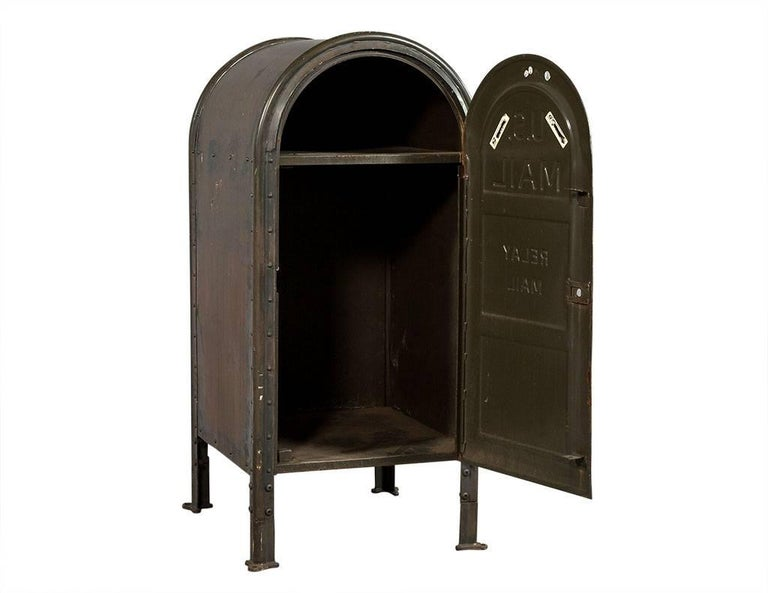 This mail box is crafted out of metal, the piece is cool, Industrial and has a slight wear consistent with age and a unique patina. A perfect piece to add interest to any home!