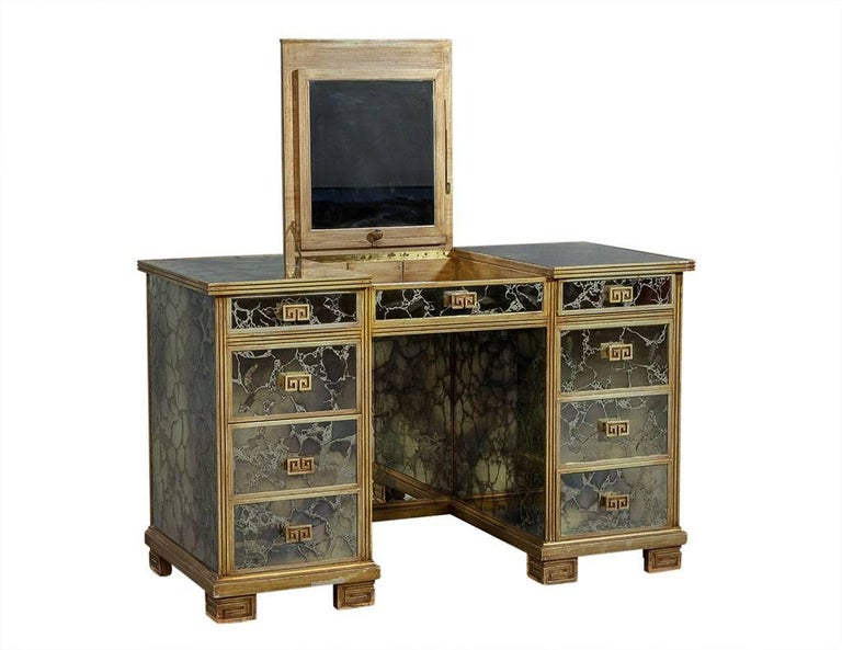 Vintage Antiqued Mirror Vanity Dressing Makeup Table Desk