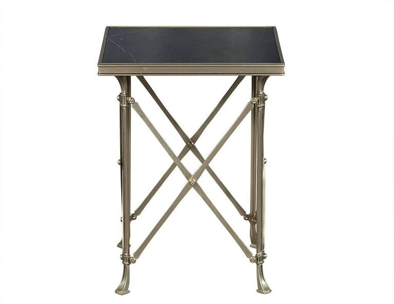 Steel Marble Top Gueridon Side Table At 1stdibs