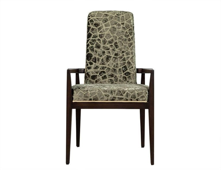 Pair of Mid-Century walnut frame accent chairs with a high back design and interesting contrast piped feature on the wood panelled back. Designer luxury fabric, newly upholstered. The perfect statement for bold dining room or office.