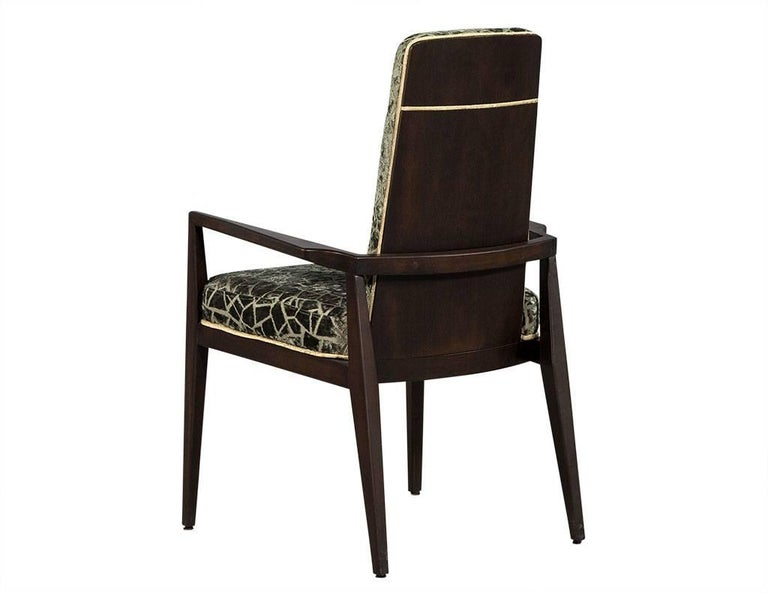 Pair of Vintage Crackled Velvet Arm Chairs In Excellent Condition For Sale In North York, ON