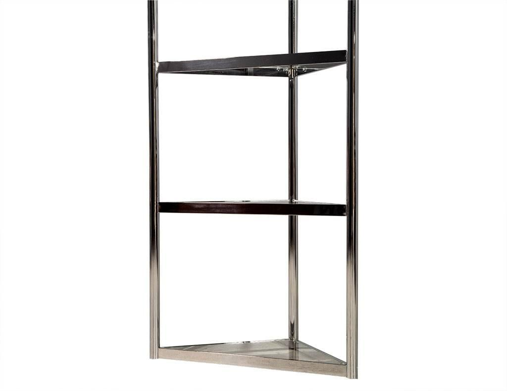Brushed Nickel Etagere Part - 18: Pair of Corner Polished Stainless Steel Etegeres For Sale at 1stdibs