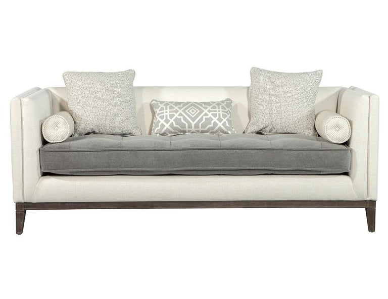 American Tufted Modern Grey And Cream Bailey Sofa For