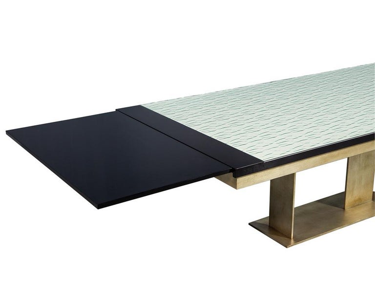 Canadian Carrocel Custom Modern Glass Top Dining Table with Brass Base For Sale