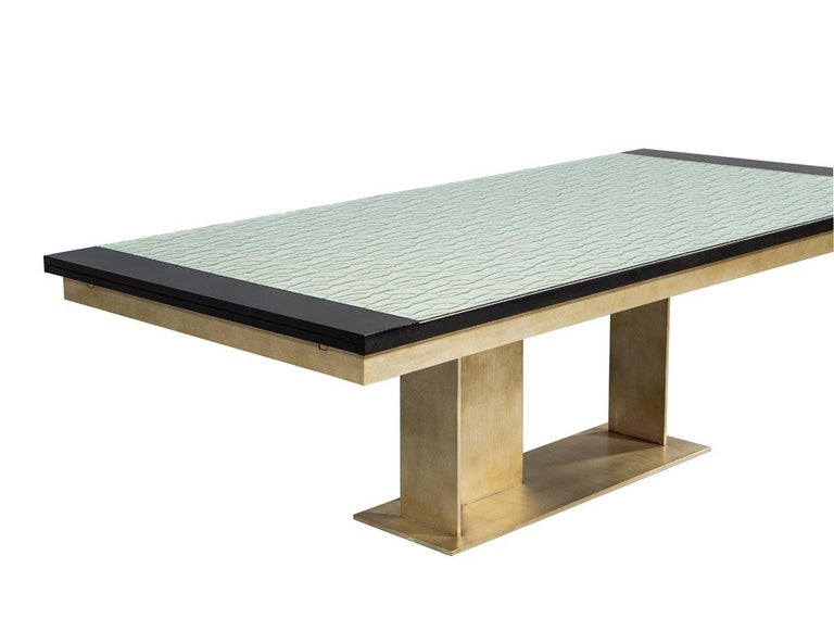 Contemporary Carrocel Custom Modern Glass Top Dining Table with Brass Base For Sale