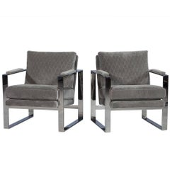 Pair of Grey Velvet and Stainless Steel Lounge Chairs