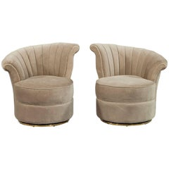 Pair of Beige Velvet Swivel Shell Occasional Chairs