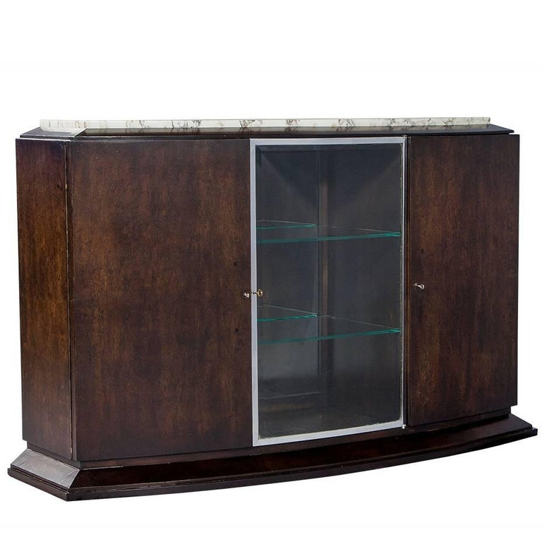 French Art Deco Marble-Top Sideboard For Sale