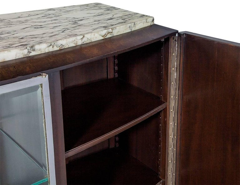 Metal French Art Deco Marble-Top Sideboard For Sale