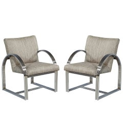 Pair of Vintage Chrome Side Chairs
