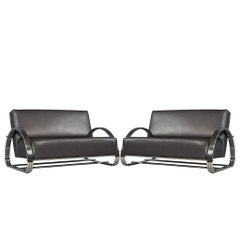 Pair of American Made Mid-Century Modern Inspired Leather Loveseat Sofas
