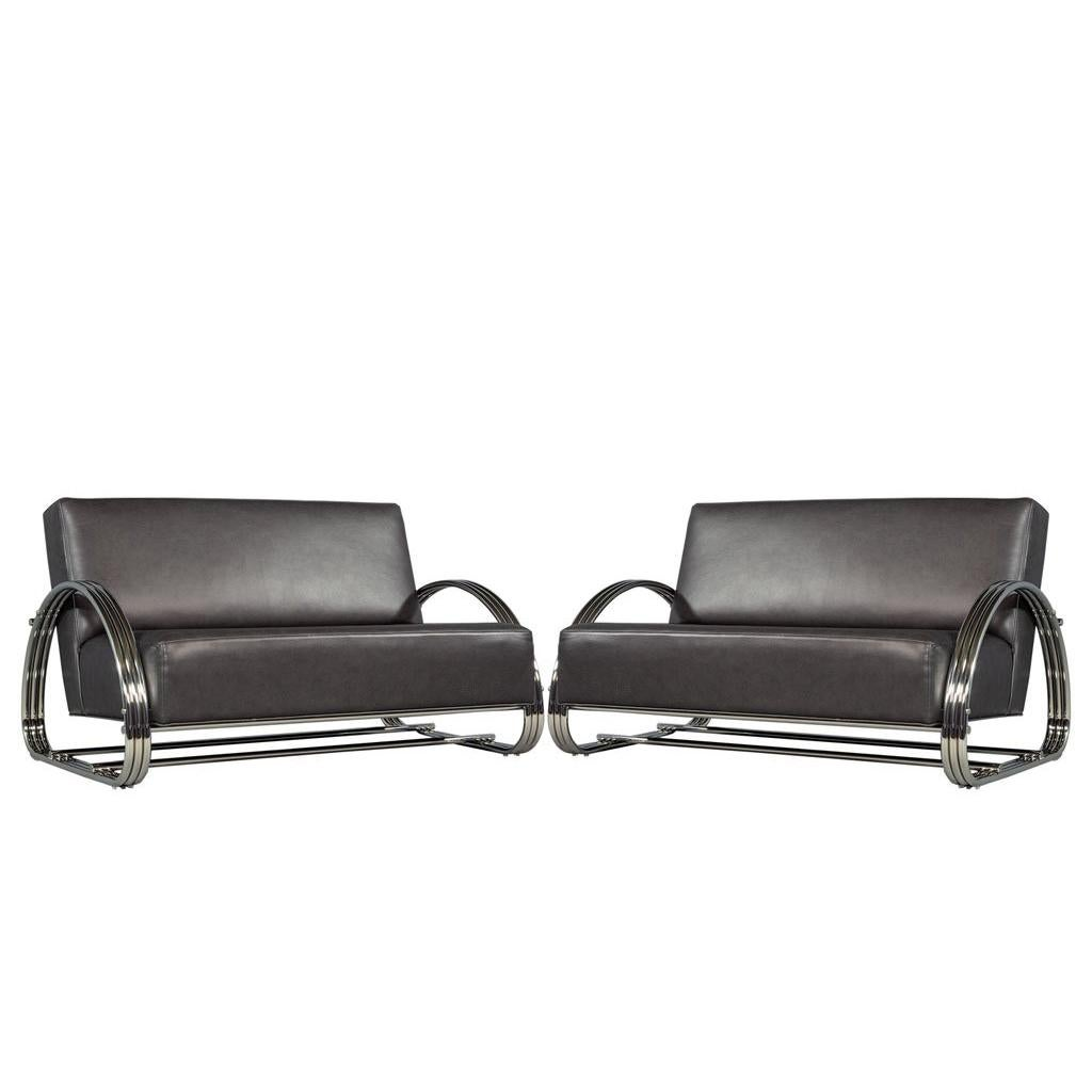 Pair Of American Made Mid Century Modern Inspired Leather Loveseat Sofas