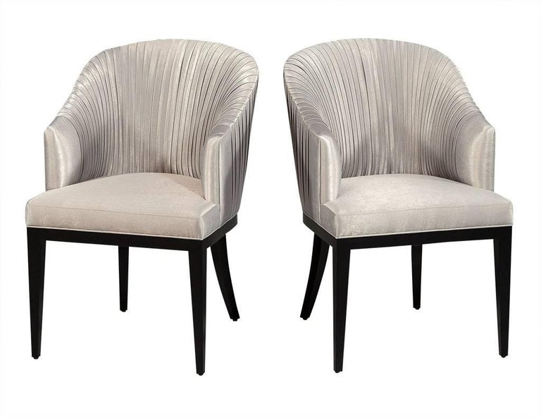 Exclusive Carrocel custom set of eight pleated dining chairs.
