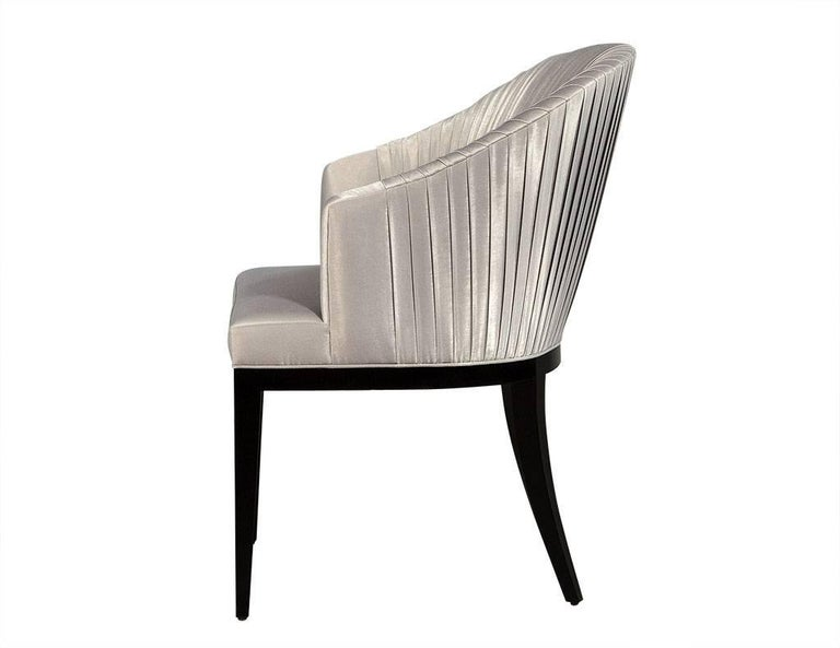 Set of Eight Carrocel Custom Grey Pleated Dining Chairs In Excellent Condition For Sale In North York, ON