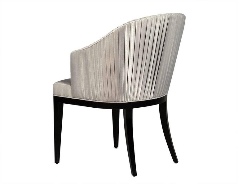 Contemporary Set of Eight Carrocel Custom Grey Pleated Dining Chairs For Sale