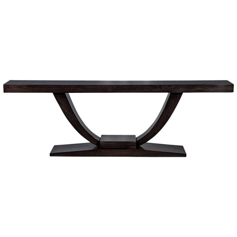 Custom Art Deco Walnut Console Table For Sale