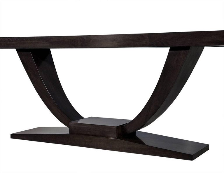 Canadian Custom Art Deco Walnut Console Table For Sale