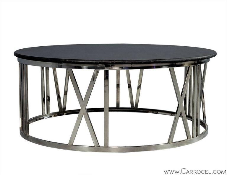 Round stone top cocktail table for sale at 1stdibs for Cocktail tables for sale used