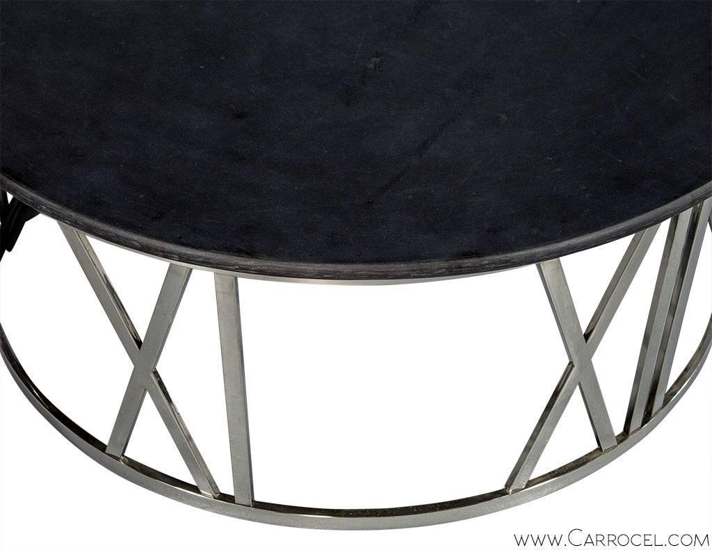 Round Stone Top Cocktail Table For Sale At 1stdibs