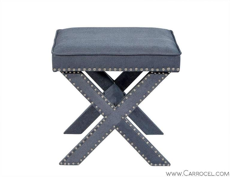 Pair of Grey-Blue Upholstered X-Frame Benches For Sale 4