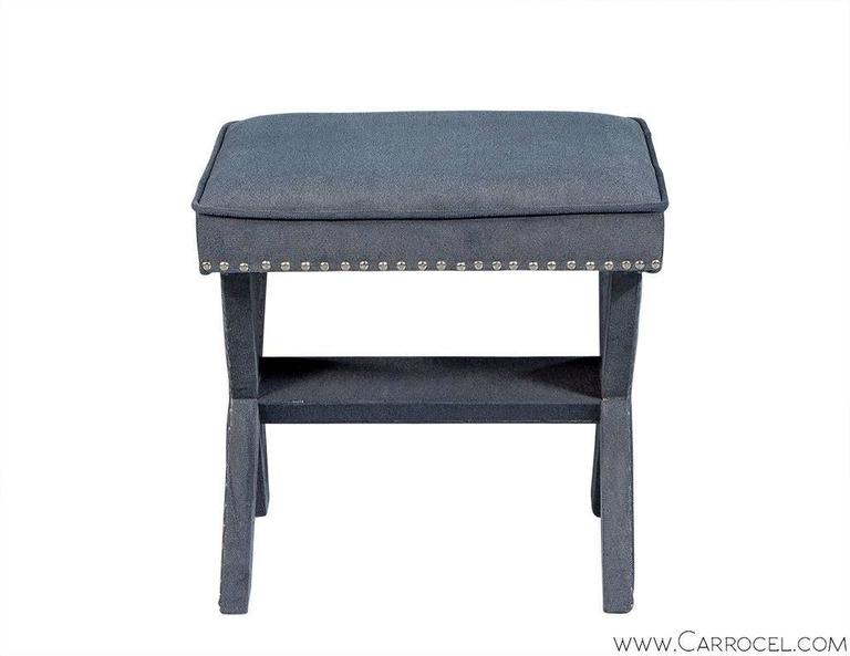 Pair of Grey-Blue Upholstered X-Frame Benches 3
