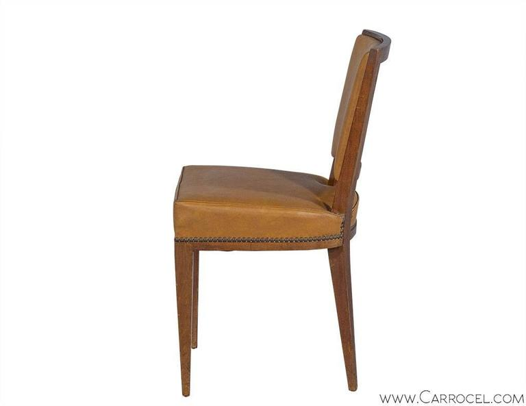 Leather Set of Ten French Art Deco Dining Chairs