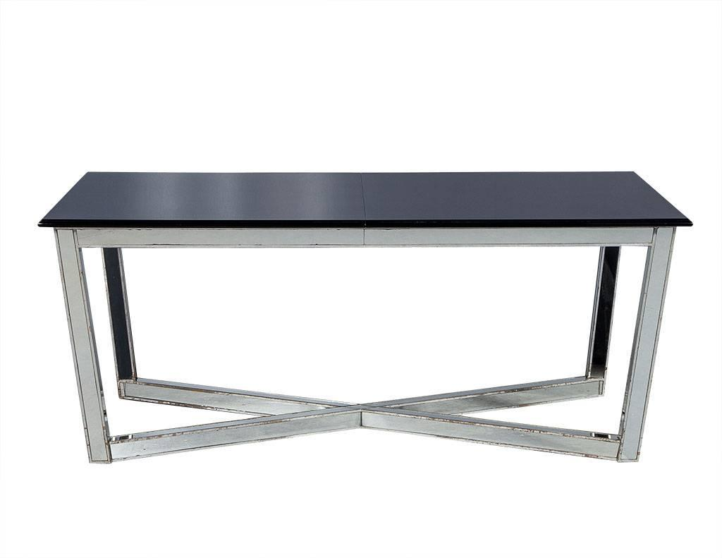 vintage hollywood regency black lacquer dining table with mirrored x base for sale at 1stdibs. Black Bedroom Furniture Sets. Home Design Ideas