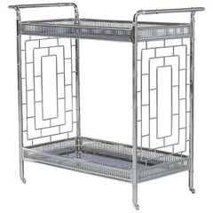 Chinoiserie Stainless Steel Bar Cart