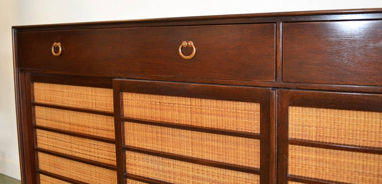 Grasscloth Sideboard Credenza for Dunbar by Edward Wormley Mid-Century Modern Model 671-A For Sale