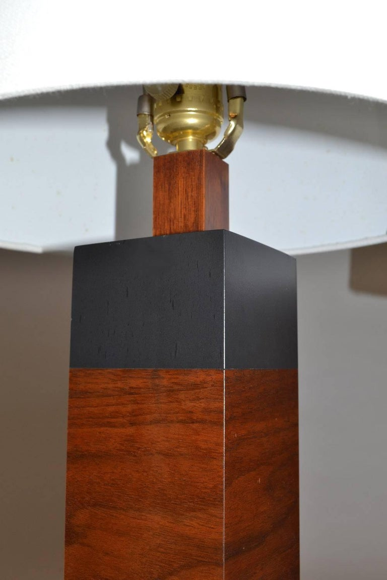 Mid-Century Modern Pair of Table Lamps in Slate and Walnut by Harpswell House Mid Century Studio Am For Sale