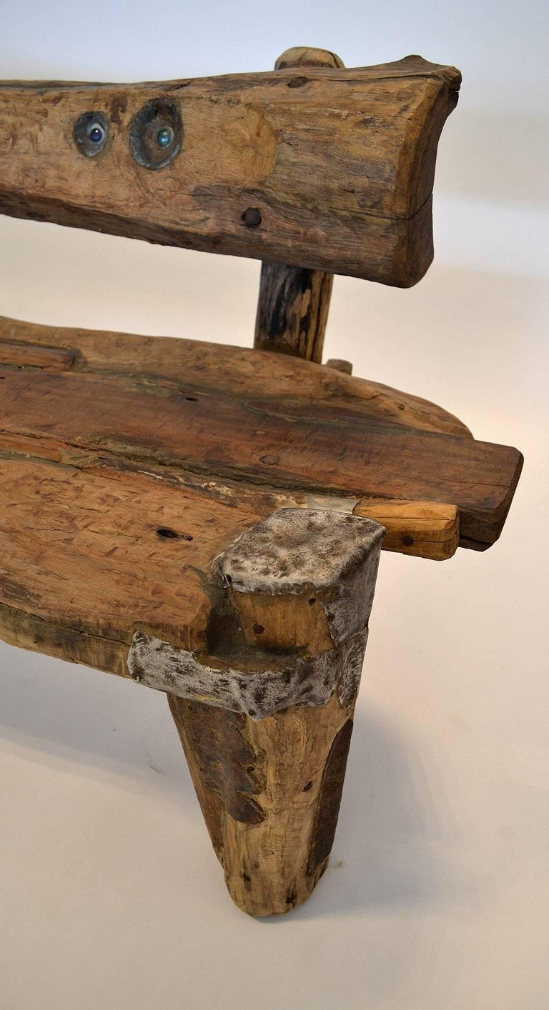 20th Century Unique Sculptural Folk Art Weathered Wood Bench Reclaimed Found Objects Studio For Sale