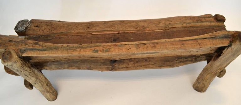 Organic Modern Unique Sculptural Folk Art Weathered Wood Bench Reclaimed Found Objects Studio For Sale