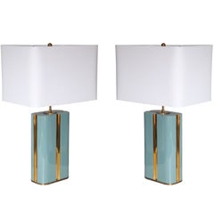 Pair of Lacquered Wood and Brass Lamps c. 1970's