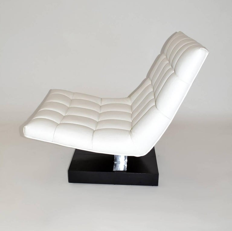 Modern Pair of Milo Baughman Leather Scoop Lounge Chairs for Thayer Coggin, 1980s