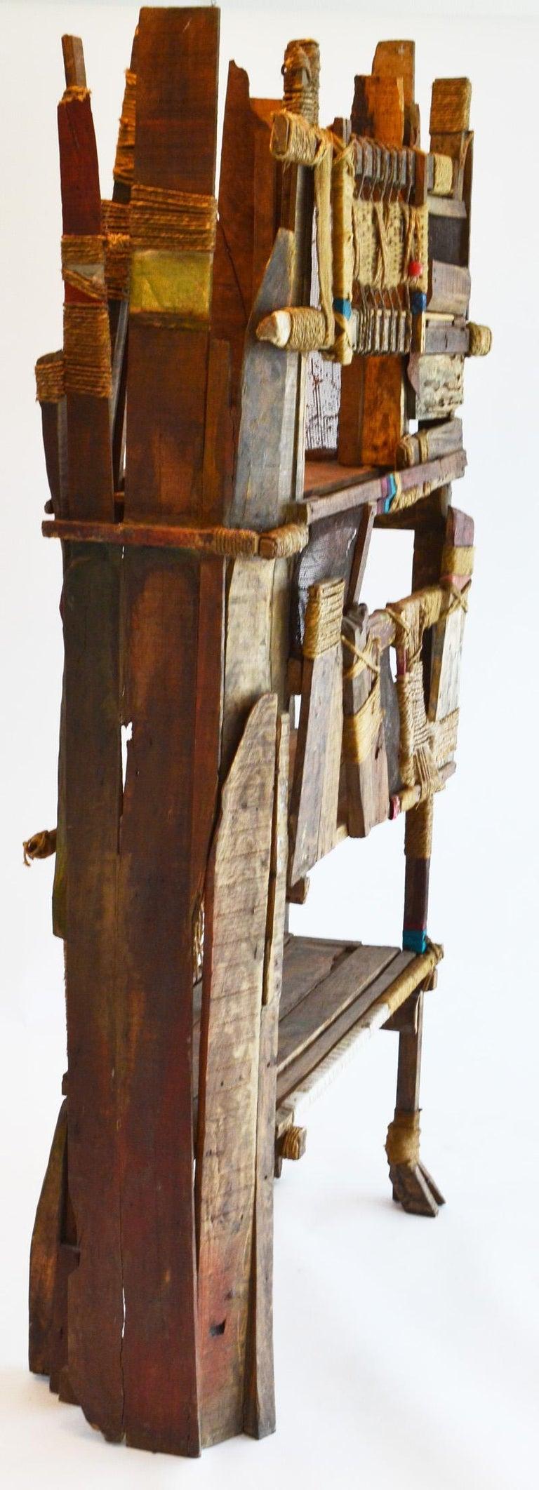 Folk Art Outsider Screen Room Divider Shelf Studio Indian Modern For Sale 1