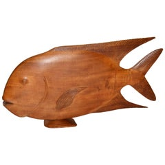 Monumental Brazilian Wood Sculpture Carving of a Tropical Fish