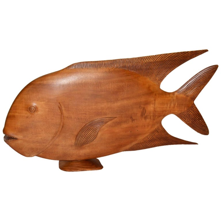 Monumental Brazilian Wood Sculpture Carving of a Tropical Fish For Sale