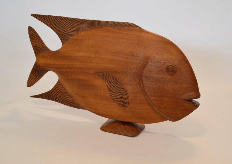 Monumental Brazilian Wood Sculpture Carving of a Tropical Fish In Good Condition For Sale In Ft Lauderdale, FL