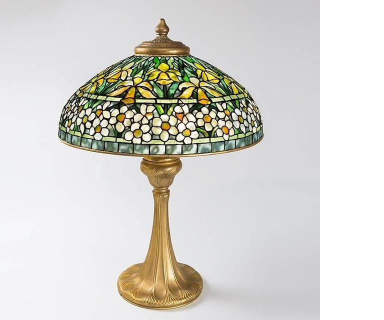 A Tiffany Studios New York gilt bronze and Favrile glass