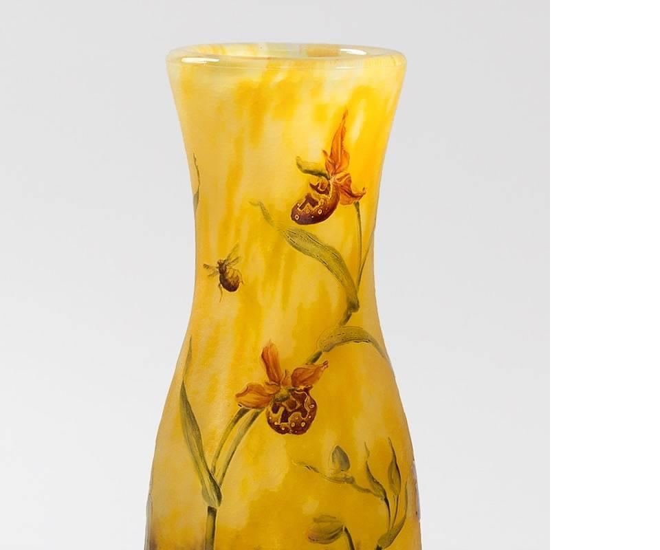 Purple dress yellow accessories vase