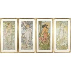 """French Art Nouveau Lithographs """"Les Fleurs"""" by Mucha"""