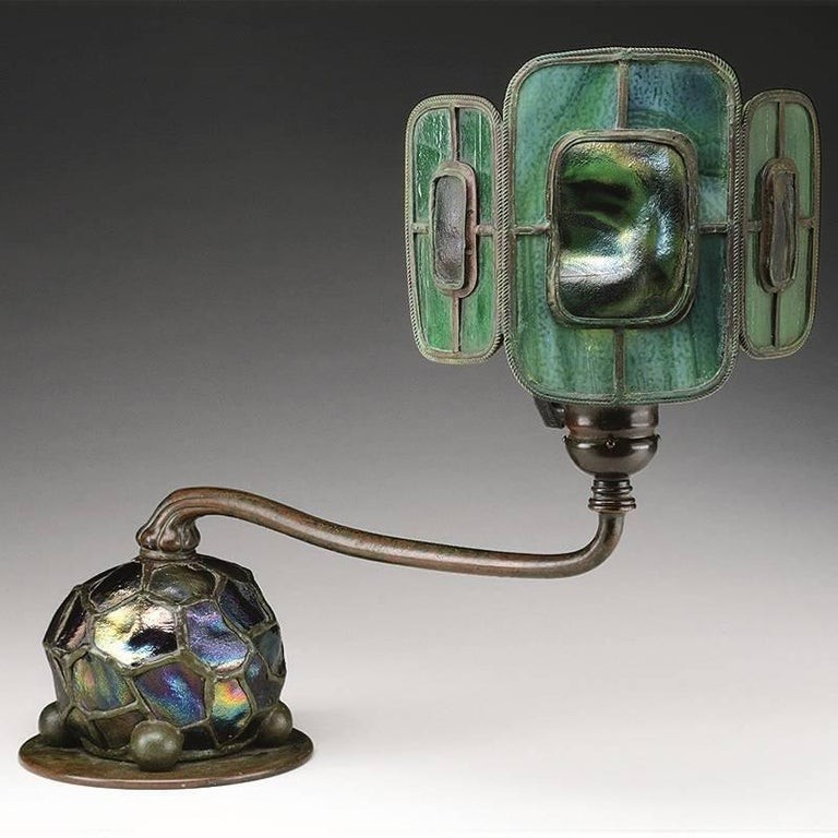 "A Tiffany Studios New York ""Turtleback Tile"" leaded glass and bronze table lamp, circa 1900.