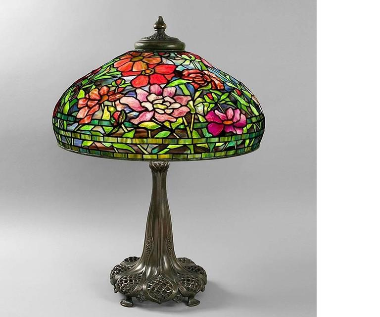 tiffany studios peony table lamp for sale at 1stdibs. Black Bedroom Furniture Sets. Home Design Ideas