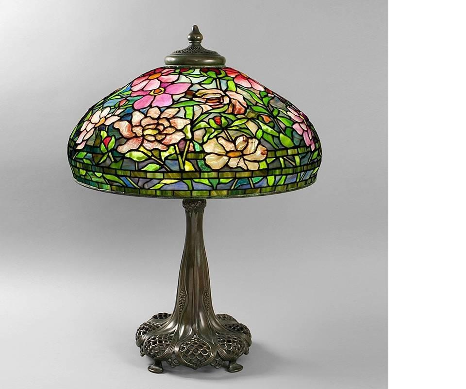 tiffany studios  u0026quot peony u0026quot  table lamp for sale at 1stdibs